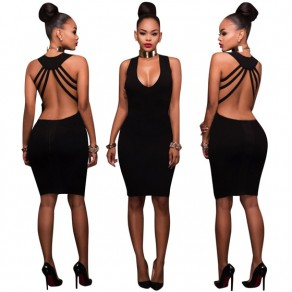 Black Cut Out Backless Deep V-neck Sleeveless Bodycon Slim Midi Dress