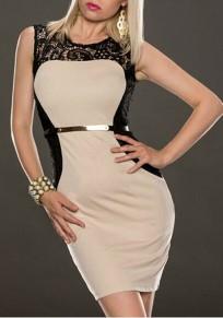 Apricot Patchwork Lace Belt Sleeveless Fashion Mini Dress