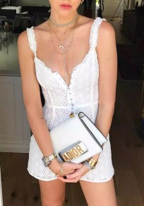 White Patchwork Lace Spaghetti Strap Studded Mini Dress