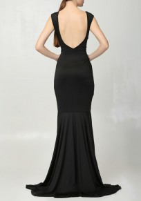 Black Irregular Backless Round Neck Sleeveless Maxi Dress