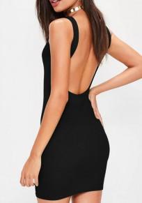 Mini abito schienale scollo rotondo senza maniche sottile nero