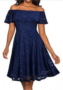Purplish Blue Floral Lace Off Shoulder Backless A-line Elegant Homecoming Midi Dress