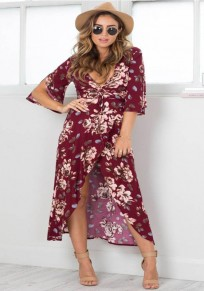 Purplish Red Floral Print Draped Tie Back Half Sleeve Bohemian Maxi Dress