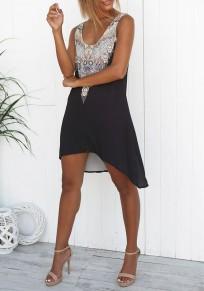 Black Flowers Print Irregular High-low Round Neck Sleeveless Casual Midi Dress