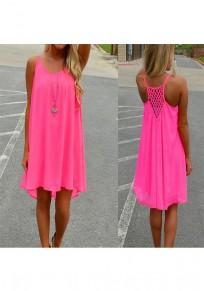 Mini vestido color de rosa carmín cubierto irregulares correa de espagueti alto-bajo
