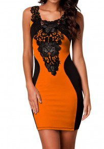 Orange-Black Patchwork Lace Round Neck Sleeveless Bodycon Club Mini Dress