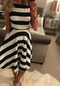 Black-White Striped Draped A-line Sleeveless High Waisted Elegant Midi Dress