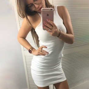 White Round Neck Sleeveless Cotton Bodycon Clubwear Mini Dress