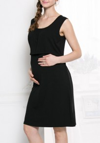 Black Belt Comfy Sleeveless Casual Pregnant Woman Mini Dress