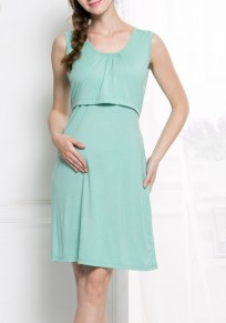 Light Green Belt Comfy Sleeveless Casual Pregnant Woman Mini Dress