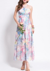 Pink Flowers Belt Tie Back Open Back Halter Neck Maxi Dress
