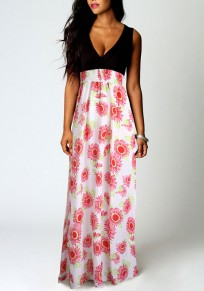 Pink Patchwork Floral V-neck Sleeveless National Maxi Dress