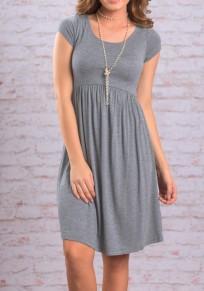 Grey Draped Round Neck Short Sleeve High Waisted Casual Midi Dress