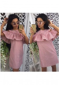Pink Striped Ruffle Zipper Cut Out Off-shoulder A-line Cute Mini Dress