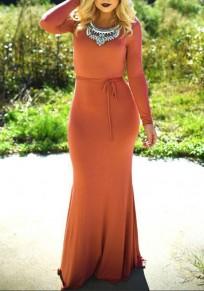 Nacarat Belt Cross Back Round Neck Maxi Dress