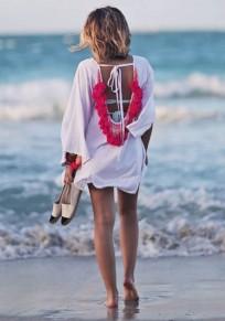 Rose Carmine Patchwork Tie Back Tassel Ruffle Backless Midi Dress