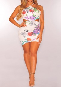 White Flowers Print Backless Cut Out Cross Back Bodycon Mini Dress