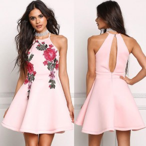 Pink Flowers Embroidery Cut Out Spaghetti Strap A-line Elegant Mini Dress