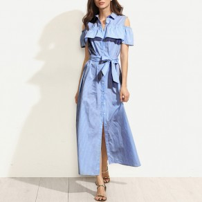Light Blue Striped Sashes Single Breasted Ruffle Turndown Collar Casual Maxi Dress