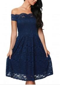 Mi-longue robe en dentelle col bateau épaule dénudée élégant de sirène bleu