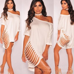 White Irregular Ripped Destroyed One-shoulder Half Sleeve Casual Mini Dress
