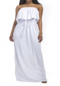 White Bandeau Drawstring Ruffle Off Shoulder Plus Size Bohemian Maxi Dress