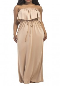 Apricot Bandeau Drawstring Pleated Ruffle High Waisted Off Shoulder Plus Size Bohemian Maxi Dress