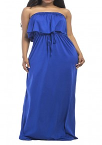 Sapphire Blue Bandeau Drawstring Ruffle Off Shoulder Plus Size Bohemian Maxi Dress