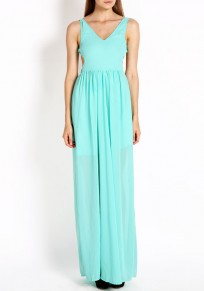Light Green Cut Out Draped V-neck Backless Double-deck Sleeveless Elegant Maxi Dress