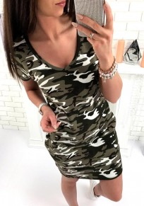 Green Camouflage V-neck Short Sleeve Casual Mini Dress