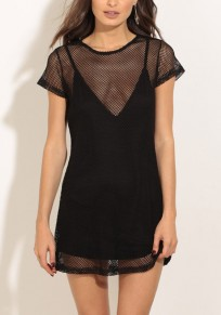 Black Hollow-out Round Neck Short Sleeve Fashion Mini Dress