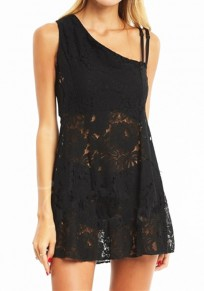 Black Patchwork Hollow-out Lace Asymmetric Shoulder Mini Dress