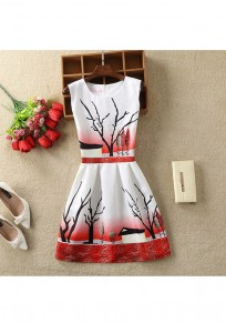 Red Floral Zipper Pleated Round Neck Mini Dress