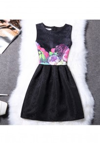 Black Floral Pleated Zipper Round Neck Fashion Mini Dress