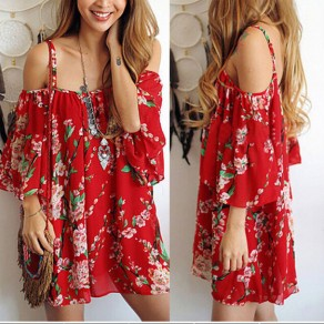 Red Floral Print Ruffle Spaghetti Strap Backless Off-shuolder Bohemian Mini Dress