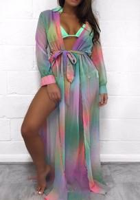 Multicolor Colorful Print Sashes Draped Deep V-neck Slit Beach Maxi Dress