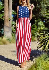 Multicolor Striped American Flag Print Pockets Sleeveless Casual Maxi Dress