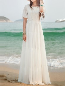White Lace Side Pull Round Neck High Waisted Bohemian Elegant Maxi Dress