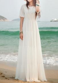 Cichic Weiß Splicing Spitze Plissee Rundhals Kurzarm Elegant Maxikleid Strandkleid Sommerkleid