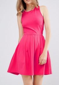 Rose Carmine Draped Cut Out Cross Back Elegant Mini Dress