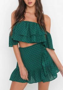 Green Polka Dot Cascading Ruffle Bandeau Backless 2-in-1 Mini Dress