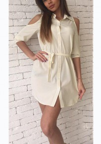 Beige Sashes Buttons Polo Neck Casual Mini Dress
