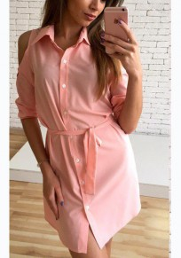 Pink Sashes Buttons Polo Neck Casual Mini Dress