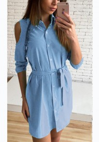 Light Sashes Buttons Polo Neck Casual Blue Mini Dress