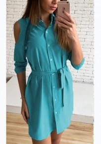 Dark Sashes Buttons Polo Neck Casual Blue Mini Dress