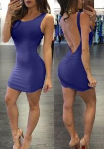 Mini-robe hors de l'épaule sans dos sans lacets sans manches club de coude carré bleu