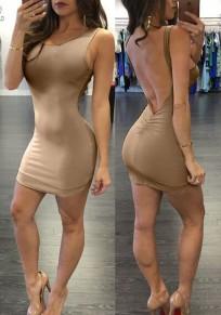 Khaki Off Shoulder Backless lace-up Sleeveless Square Neck Club Mini Dress