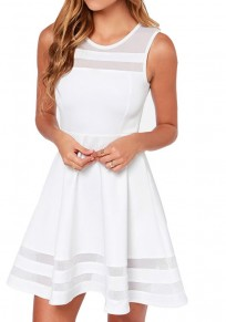 Mini-robe grenadine drapée col rond décontracté blanc