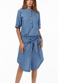 Blue Single Breasted Bow Irregular Elbow Sleeve Midi Dress