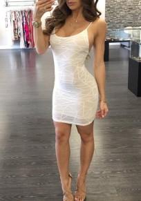 White Geometric Condole Belt Double-deck Round Neck Mini Dress